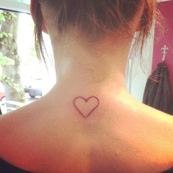 Simple Heart Tattoo On Neck