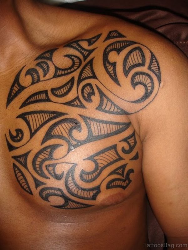 Simple Maori Tribal Tattoo On Left Chest