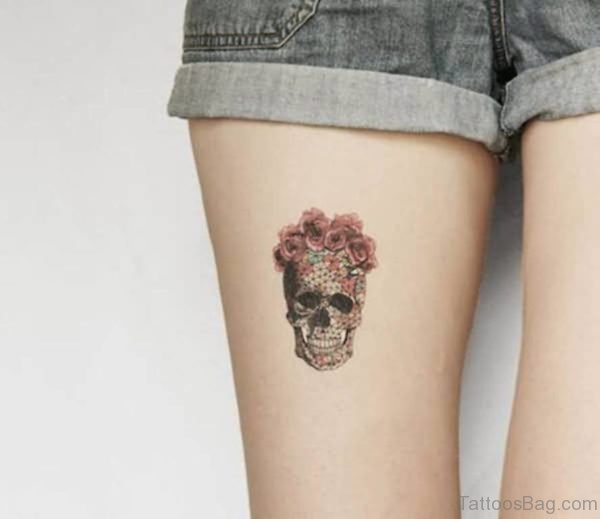 Simple Rose And Skull Face Tattoo