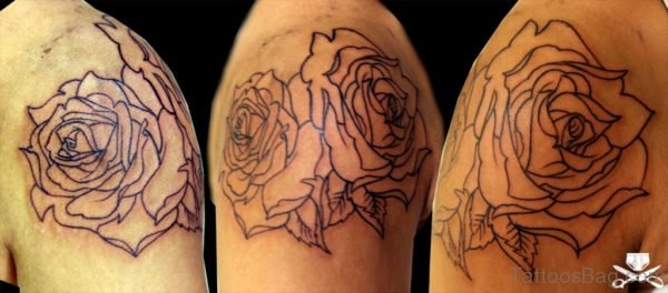 Simple Rose Tattoo On Shoulder