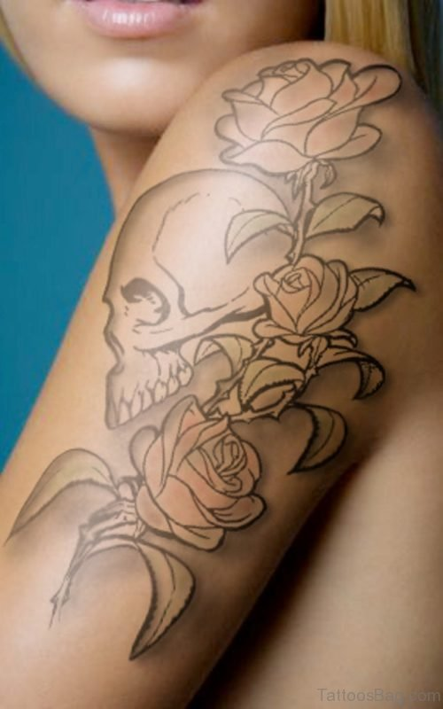 Simple Skull And Roses Tattoo