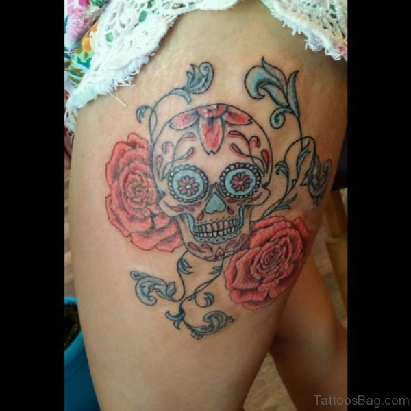 Simple Sugar Skull Tattoo