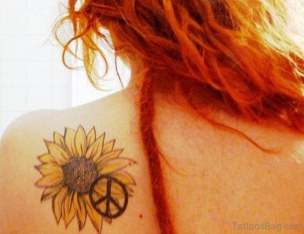 Simple Sunflower Tattoo  On Back