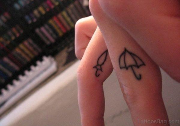 Simple Umbrellas Tattoo Design