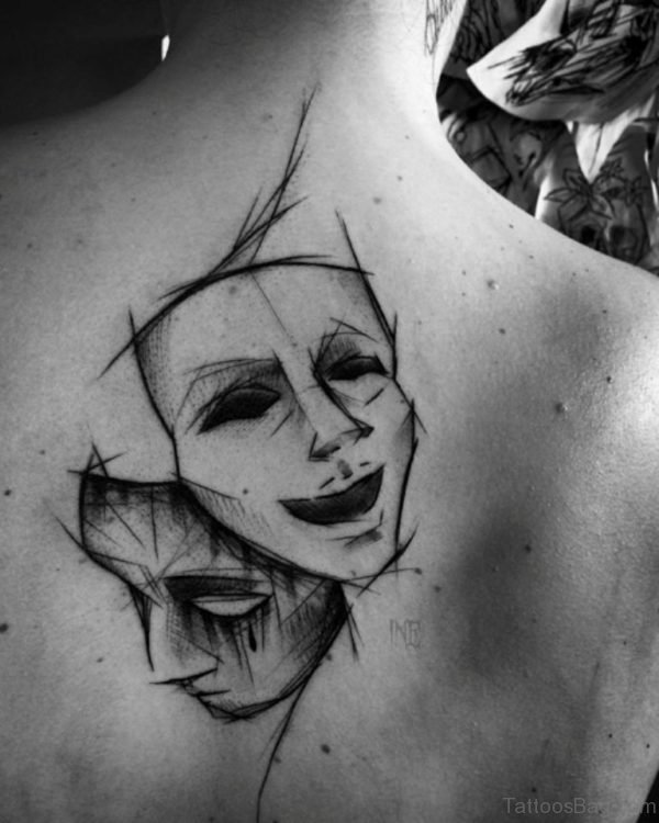 Sketchy Theater Masks Tattoo