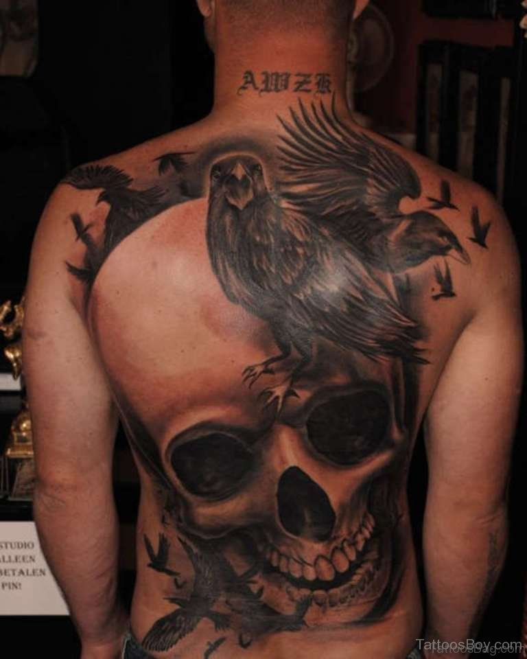 d56879d91 Skull And Crow Tattoo On Full Back