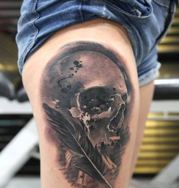 Skull And Feather Tattoo