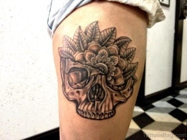 Skull And Mandala Thigh Tattoo