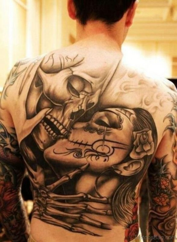 Skull And Mask Tattoo