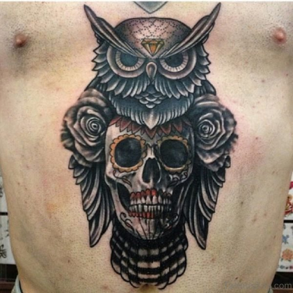 Skull And Owl Tattoo On Chest