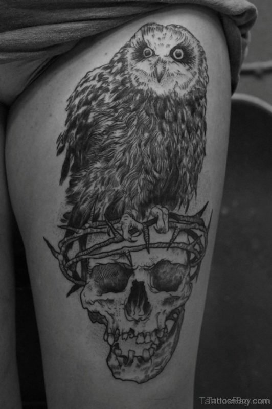 Skull And Owl Tattoo On Thigh