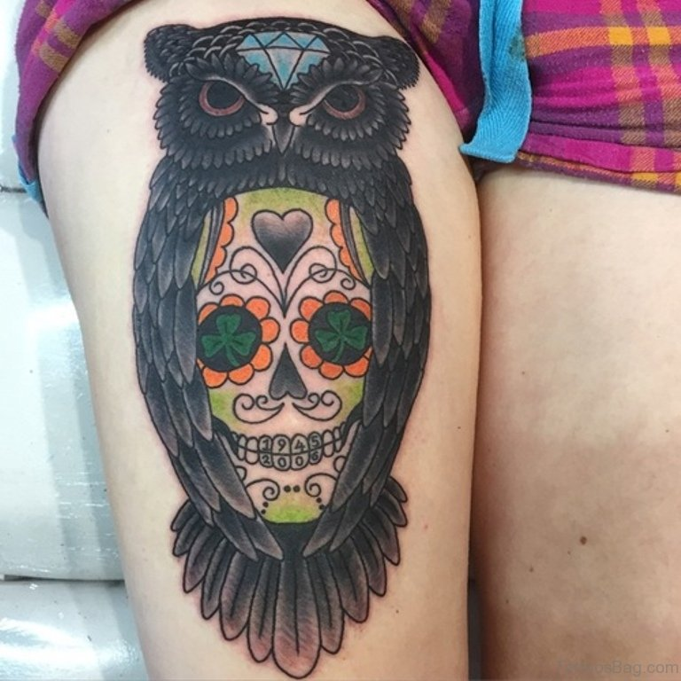 b73ca04dd8678 39 Exciting Owl Tattoos For Thigh