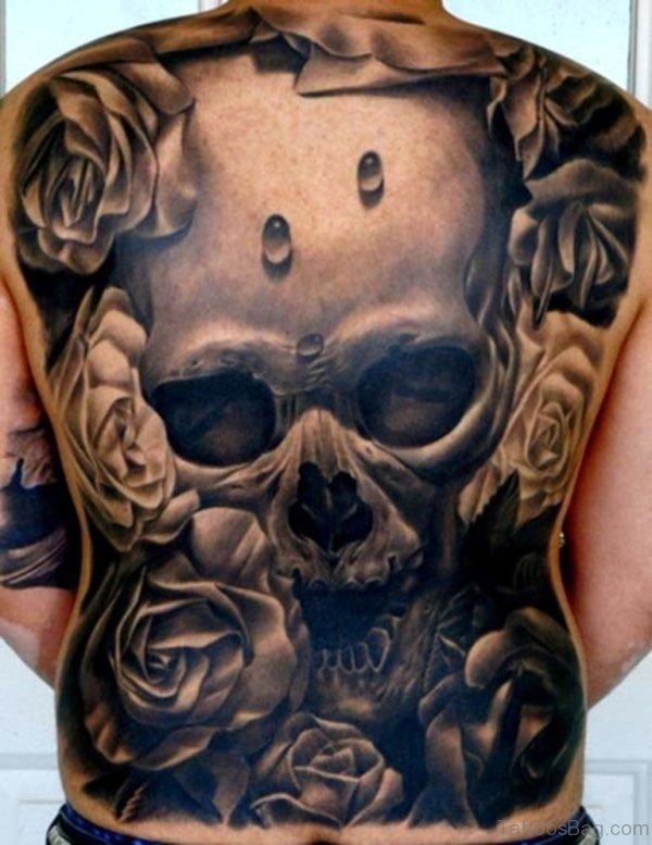 Skull And Rose Tattoo On Full Back