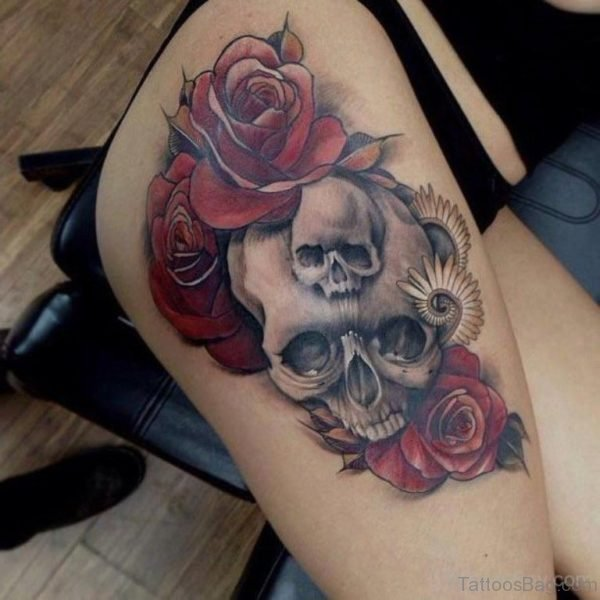 Skull And Rose Tattoo On Thigh
