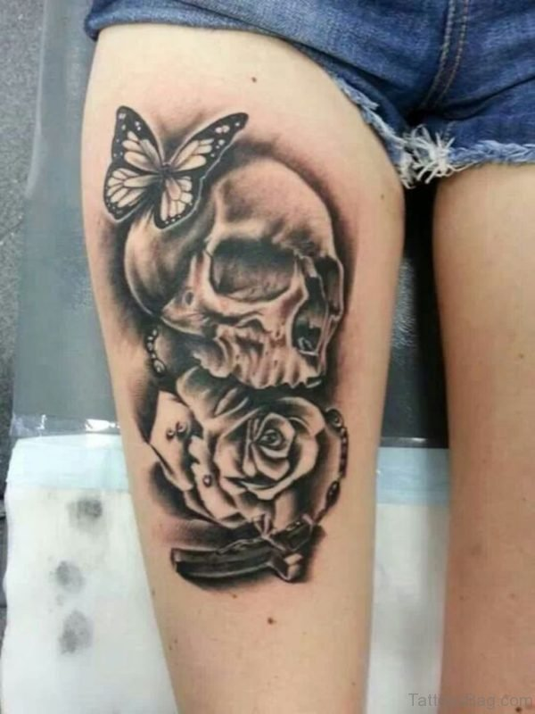 Skull Butterfly And Rose Tattoo