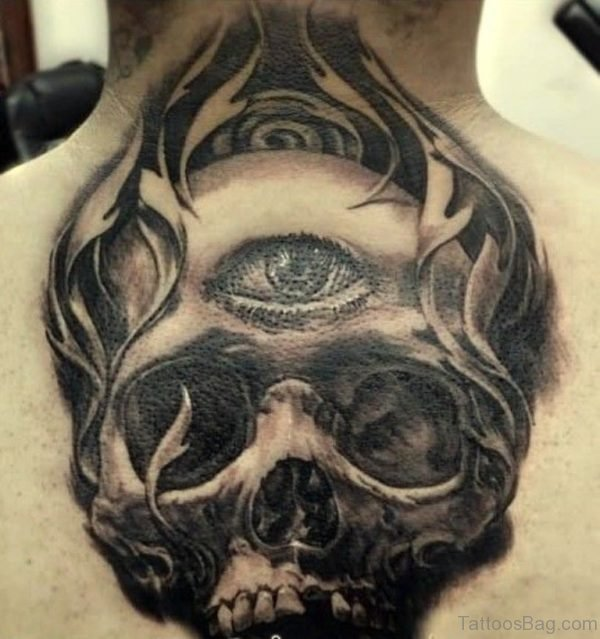 Skull Head Tattoo On Back