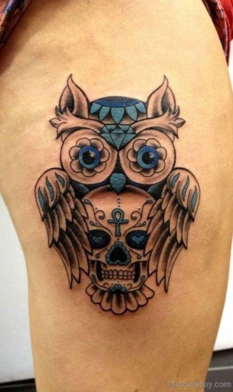 Skull Owl Tattoo On Thigh