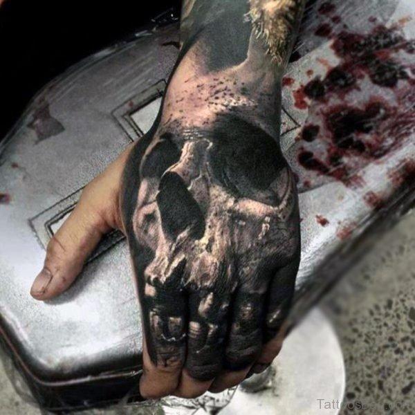 Skull Tattoo On Finger