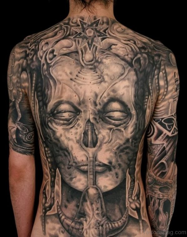 Skull Tattoo On Full Back
