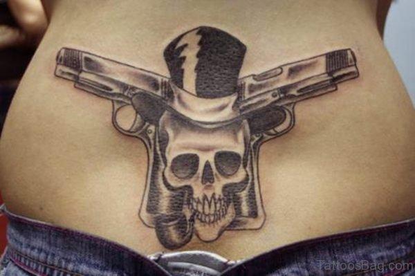 Skull Tattoo On Lower Back