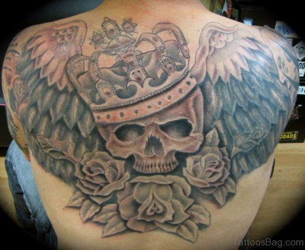 Skull Tattoo On Upperback