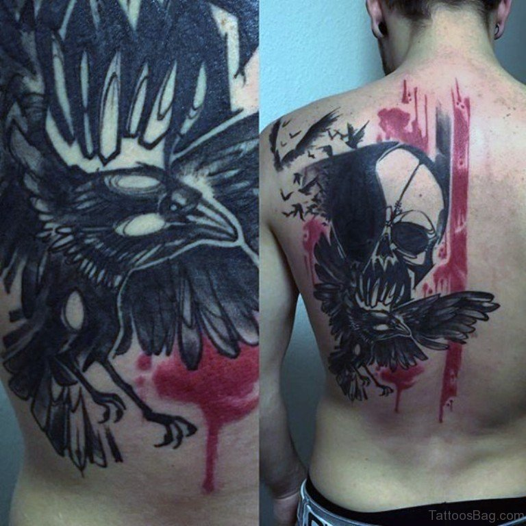 b492153ca Skull With Crow Tattoo On Back
