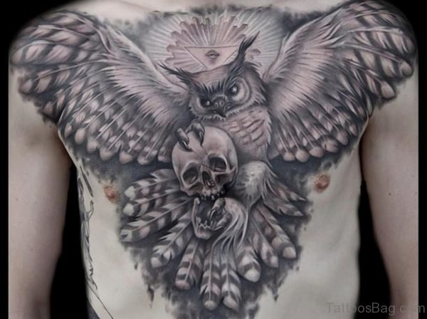 Skull With Owl Tattoo
