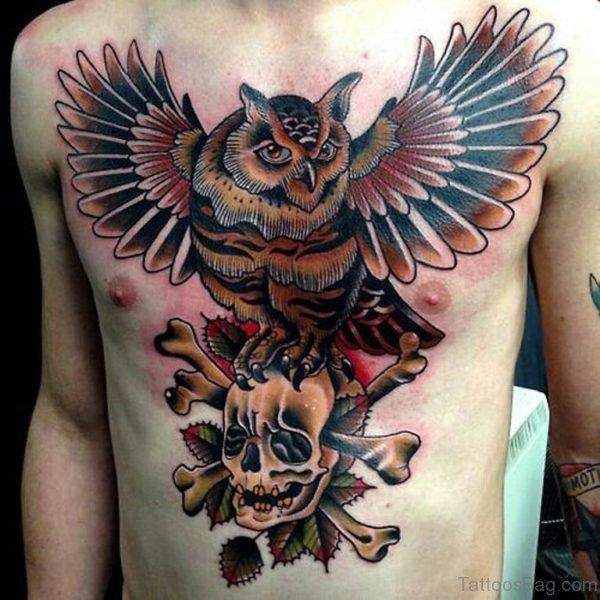 Skull With Owl Tattoo