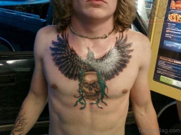 Skull n Eagle Tattoo On Chest