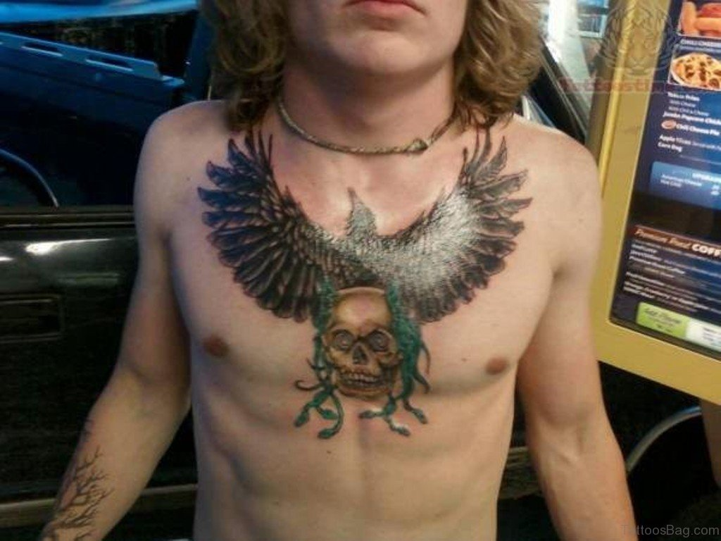 41 realistic eagle tattoos on chest for Skull and eagle tattoo