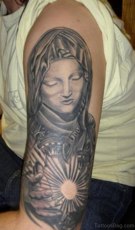 Sleeve Mary Shoulder Tattoo Design