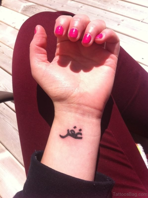 Small Arabic Word Tattoo On Wrist