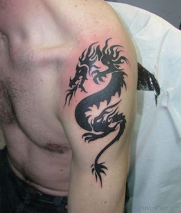 Small Black Shoulder Dragon Tattoo