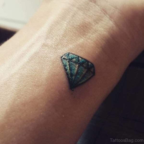 Small Blue Diamond Tattoo