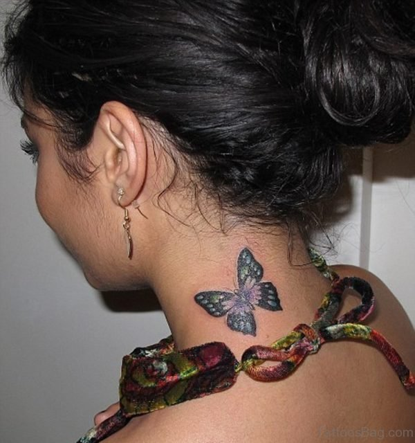 Small Butterfly Tattoo On Side Neck