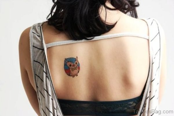 Small Color Owl Back Body Tattoo