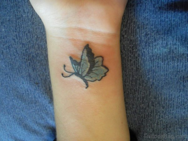 Small Colored Butterfly Tattoo On Wrist