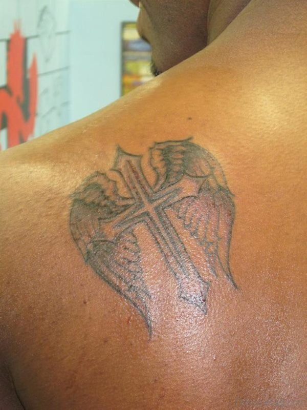 Small Cross Wings Tattoo On Back