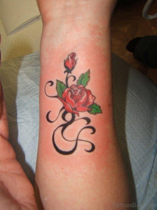 Small Designer Rose Tattoo On Wrist