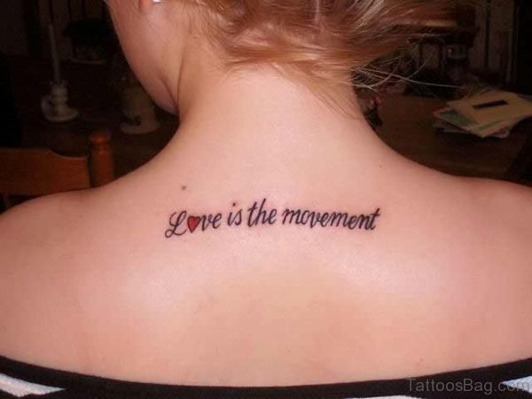 Small English Letters Tattoo On Back