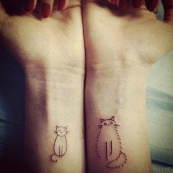 Small Fat  Cat Tattoo On Wrist