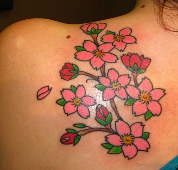 Small Flowers Tattoo On Back