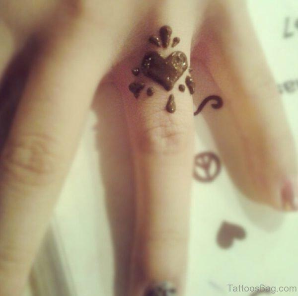 Small Henna Heart Tattoo
