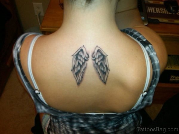 Small Wings Tattoo On Back