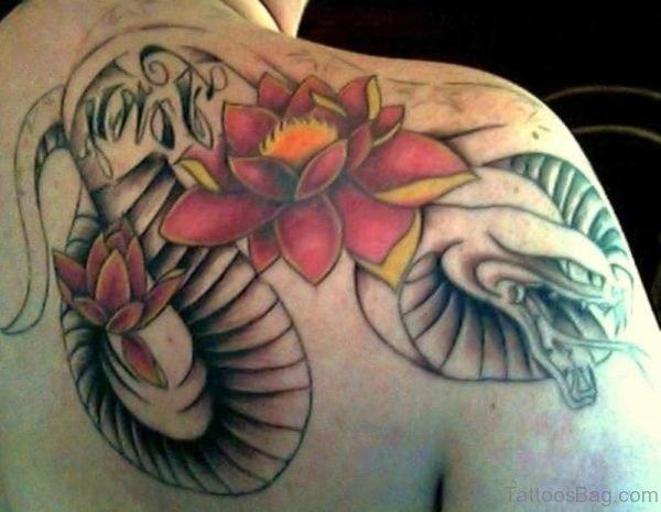 Snake And Lotus Tattoo