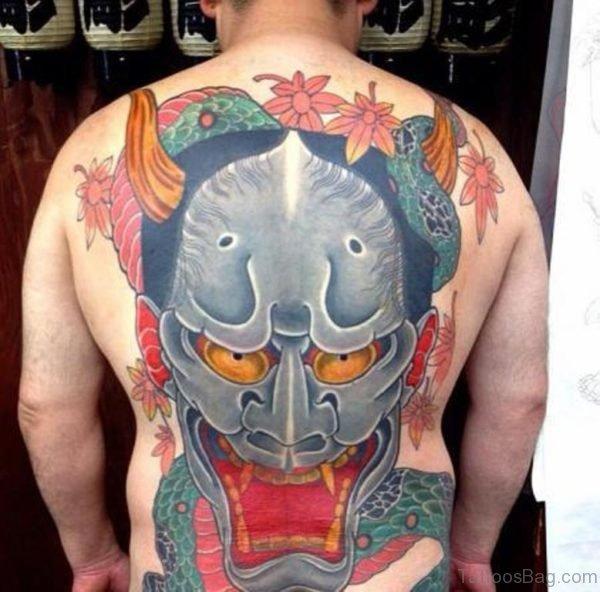 Snake And Demon Mask Hannya Tattoo