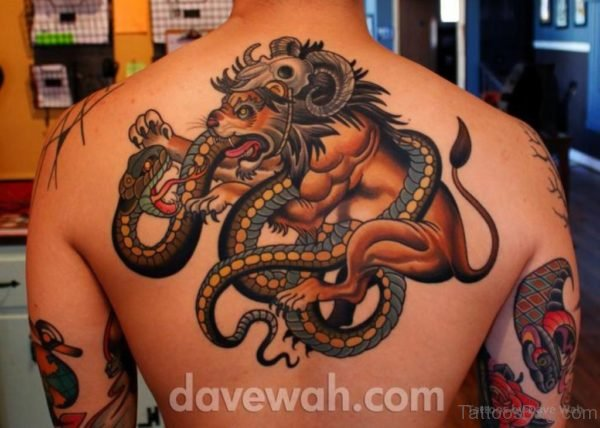 Snake And Lion Tattoo