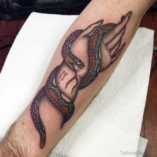 Snake Sting Hand Tattoo