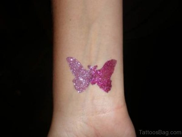 Sparkling Butterfly Tattoo On Wrist