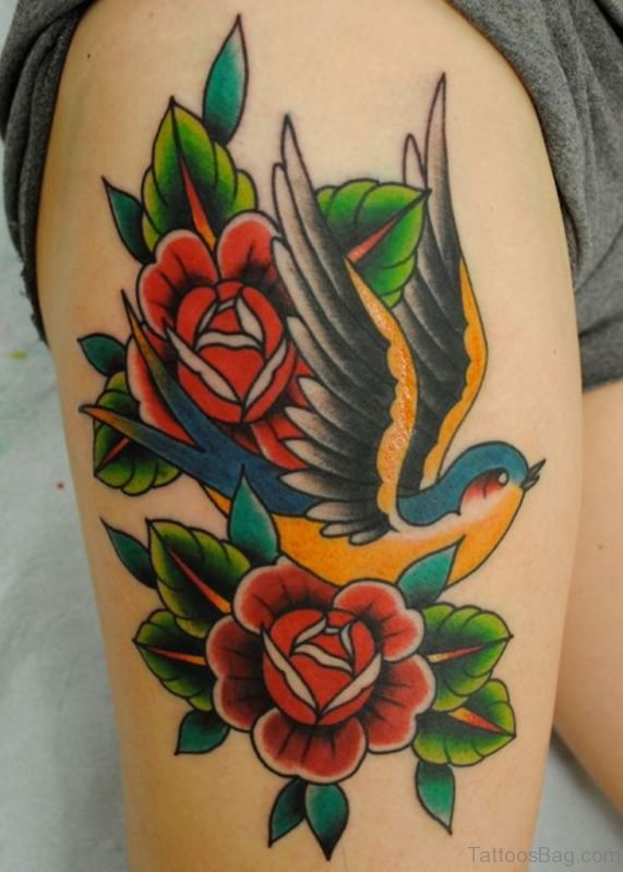 Sparrow And Rose Tattoo